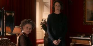 Downton Abbey Imelda Staunton and Tuppence Middleton sitting in one of the manor's rooms