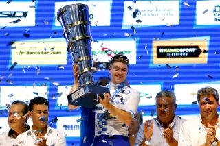 Deceuninck-QuickStep's Remco Evenepoel is awarded the winner's trophy after taking the overall title at the 2020 Vuelta a San Juan