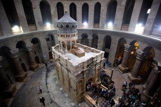 The shrine (sometimes called the Edicule) that holds the tomb of Jesus is seen in this photograph. The shrine is located within the Church of the Holy Sepulchre in Jerusalem.