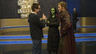 James Gunn, Zoe Saldana and Chris Pratt on the set of Guardians of the Galaxy Vol 2