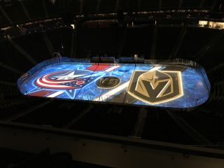 Christie's projection mapping technology energizes the crowd at T-Mobile Arena in Las Vegas during the Golden Knights' pregame show.