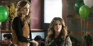 Girls Allison Williams and Rita Wilson look on disapprovingly