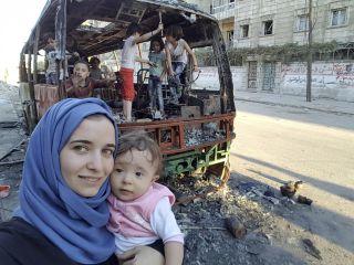 Waad al-Kateab with daughter Sama