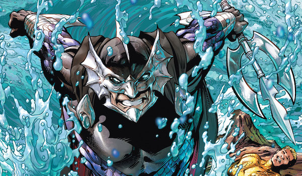 Ocean Master holding trident and looking menacing