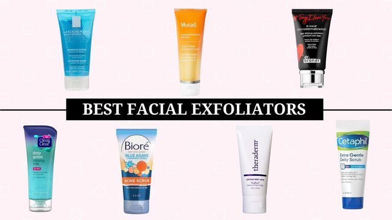 best facial exfoliator main collage of exfoliants
