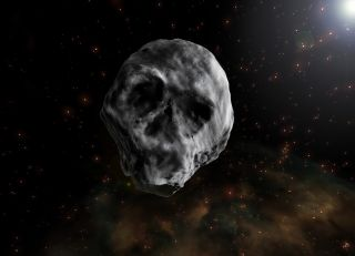 "An artist's illustration of the ""Halloween Asteroid"" 2015 TB145, which looks much like a skull. The asteroid flew harmlessly by Earth on Oct. 31, 2015 and will return in November 2018."
