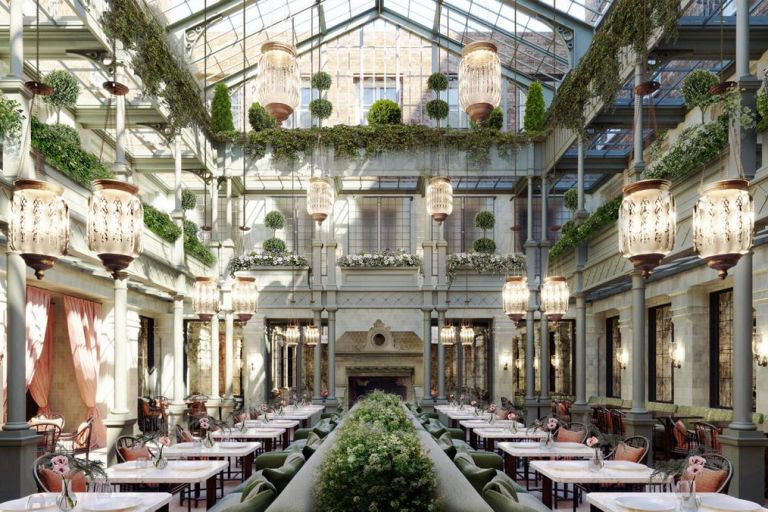 The light filled dining room inside the atrium at The Nomad London