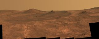 "NASA's Mars rover Opportunity captured this image of the crater called ""Spirit of St. Louis"" on Mars"