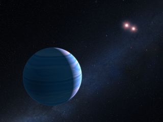 An artist's illustration shows an exoplanet named OGLE-2007-BLG-349. It orbits a binary pair of red dwarf stars.