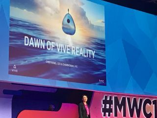 HTC CEO Cher Wang speaking at MWC about new Vive Reality devices. But the 'dawn' of Vive's next-gen devices could still be a ways off