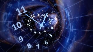 An illustration of time, space-time, with a clock and a cosmic background.