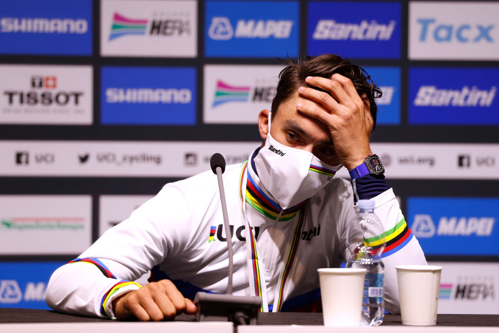 It begins to sink in for France's Julian Alaphilippe at the post-race press conference that he's become the 2020 road race world champion