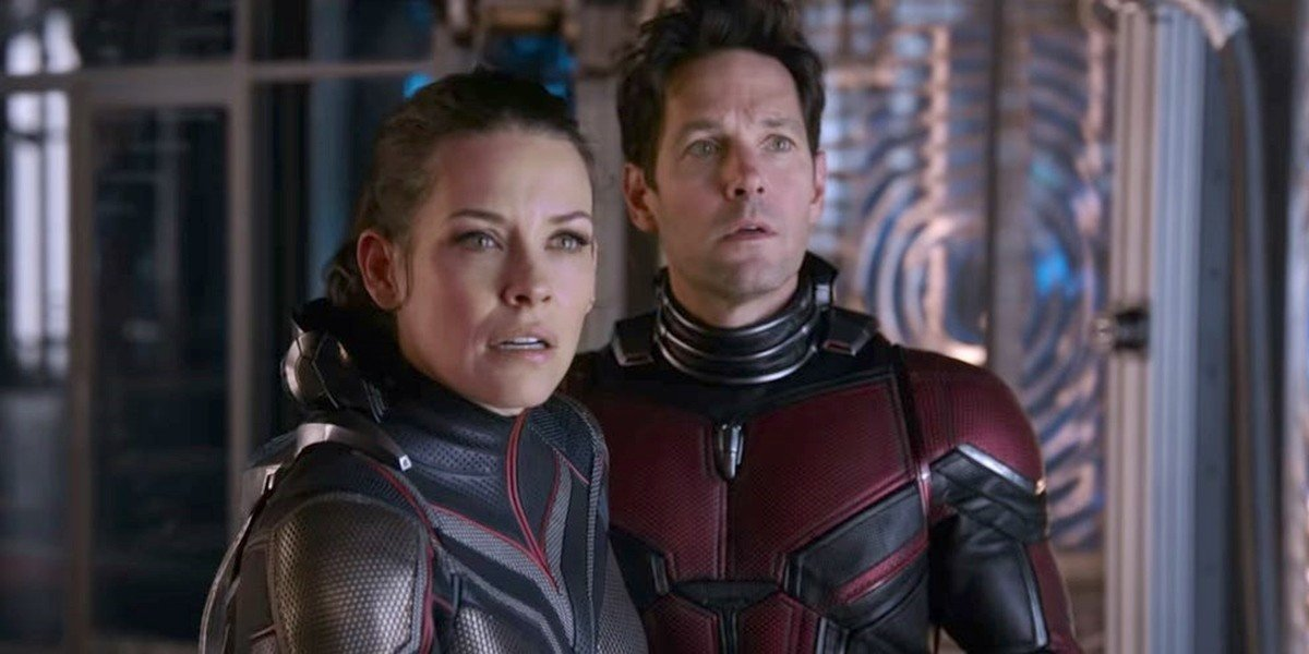 Evangeline Lilly as Hope van Dyne/The Wasp and Paul Rudd as Scott Lang/Ant-Man in Ant-Man and the Wasp (2018)