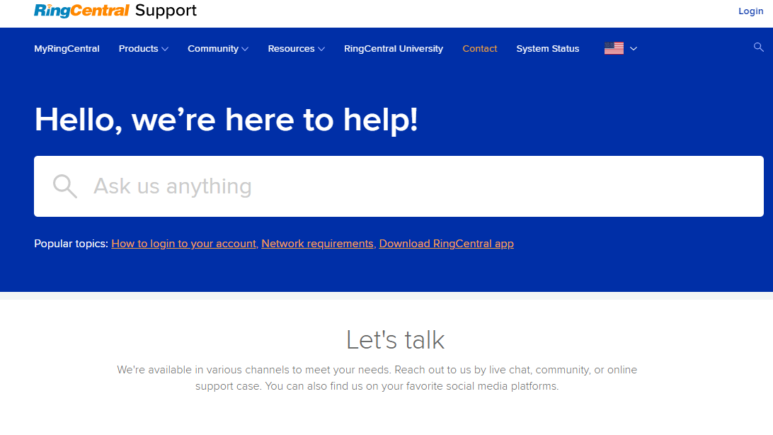 RingCentral Support website landing page