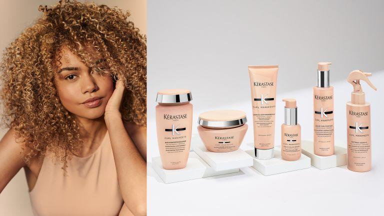 model alongside the Kérastase Curl Manifesto range