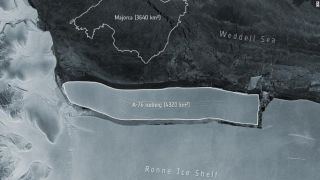 The humongous chunk of ice calved from the western side of the Ronne Ice Shelf in Antarctica.