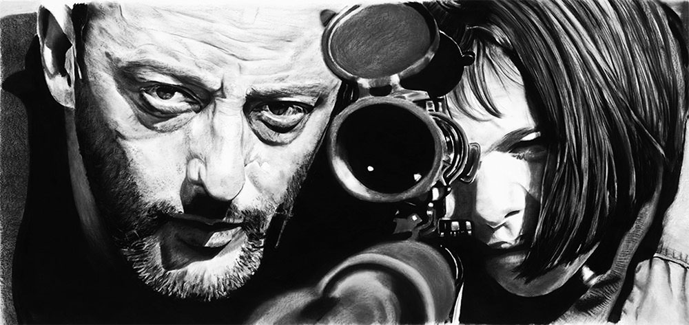 Realistic pencil drawing of Jean Reno and Natalie Portman taking aim with a sniper rifle