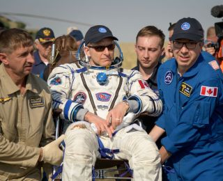 Canadian astronaut David Saint-Jacques minutes after landing in Kazakhstan on June 24 at the end of a six-month mission.