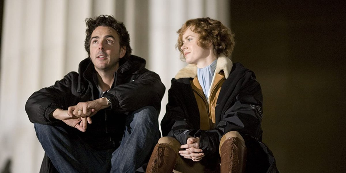 Shawn Levy with Amy Adams making Night At The Museum 2
