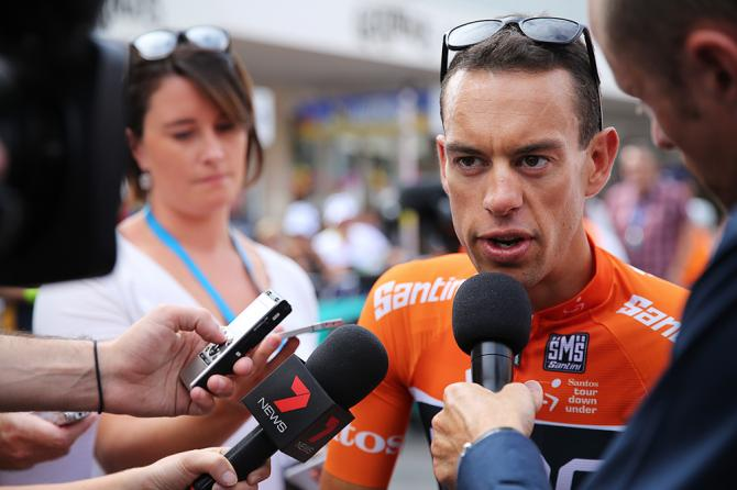Richie Porte talks with reporters after stage 3 at the Tour Down Under