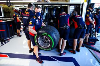 The Red Bull Racing team practice pitstops before practice for the F1 70th Anniversary Grand Prix at Silverstone on Friday, August 07, 2020.