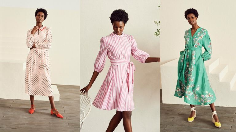 model from Boden showing how to style a shirt dress and other styles