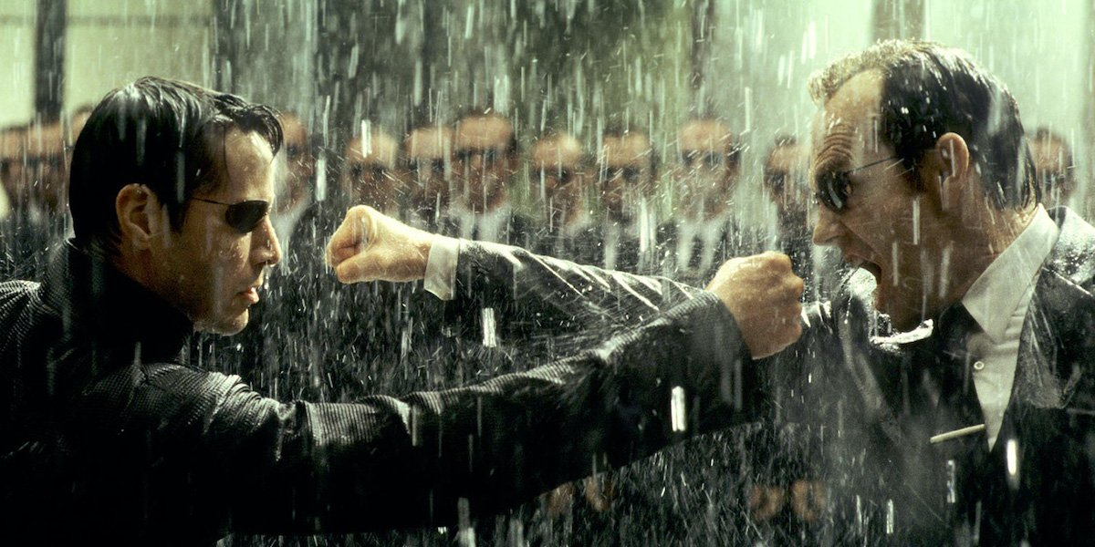 Neo fighting Smith in The Matrix 3