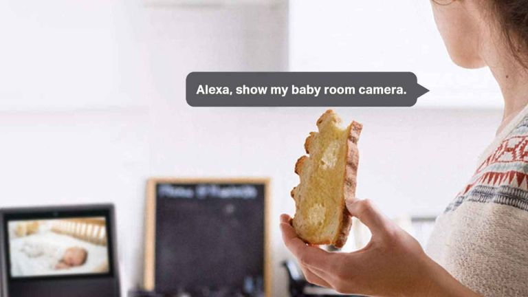 TP-Link Tapo Mini Smart Security Camera: woman eating toast checking on baby cam