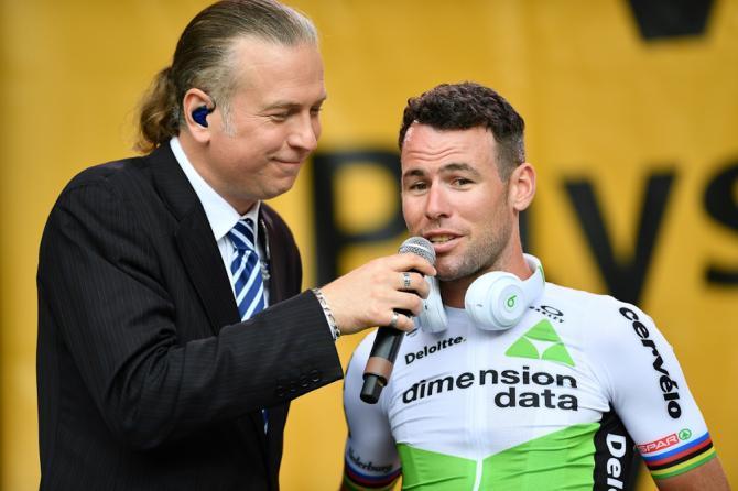 Mark Cavendish answers a question at the 2018 Tour de France team presentation
