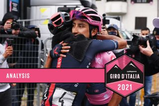 VALLE SPLUGA - ALPE MOTTA, ITALY - MAY 29: Daniel Felipe Martinez Poveda of Colombia and Team INEOS Grenadiers & Egan Arley Bernal Gomez of Colombia and Team INEOS Grenadiers Pink Leader Jersey celebrates at arrival during the 104th Giro d'Italia 2021, Stage 20 a 164km stage from Verbania to Valle Spluga - Alpe Motta 1727m / #UCIworldtour / @girodiitalia / #Giro / on May 29, 2021 in Valle Spluga - Alpe Motta, Italy. (Photo by Marco Alpozzi - Pool/Getty Images)
