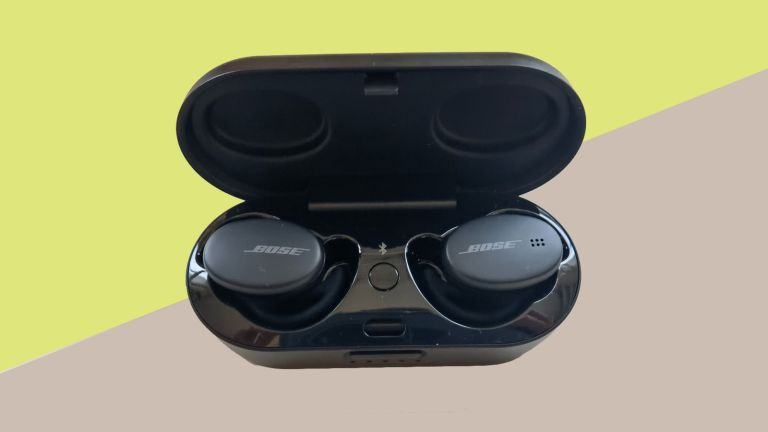 Bose Sport Earbuds review: the buds in their charging case against a green and beige background