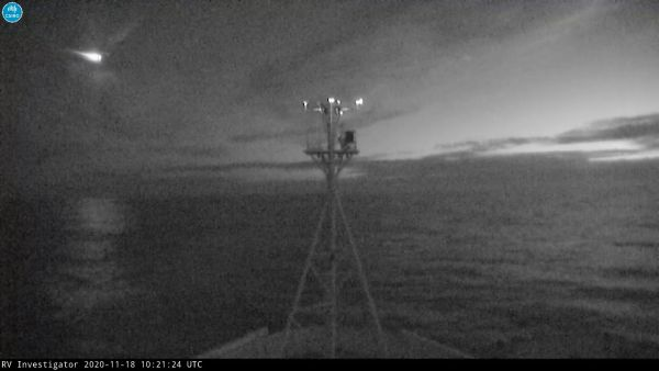 On Nov. 18, 2020, a bright green meteor streaked across the night sky near CSIRO's research vessel Investigator, which is currently stationed in the Tasman Sea, off the southern coast of Tasmania, Australia.