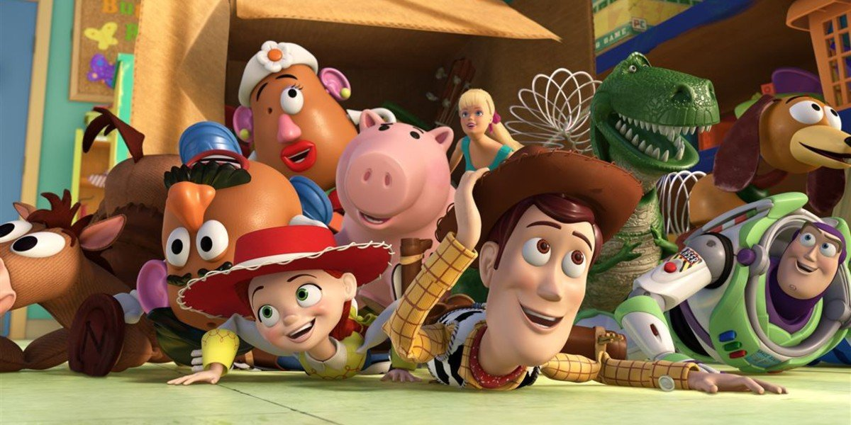 The toys falling out of a box in Toy Story 3