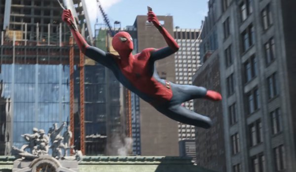 Spider-Man: Far From Home Spider-Man takes a selfie while swinging