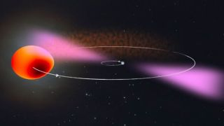An illustration shows the orbits of PSR J2039-5617 and its companion.