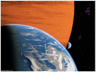 Artist's Impression of Exomoons Orbiting a Giant Gaseous Planet