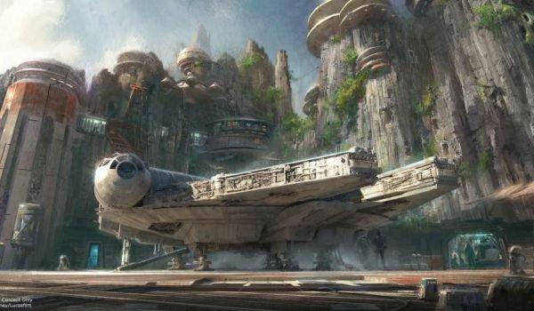 Concept art of the Millennium Falcon for Star Wars Galaxy's Edge