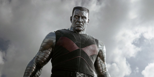 Colossus looking down at Deadpool in the first film