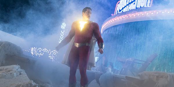 Shazam with his lightning bolt symbol glowing