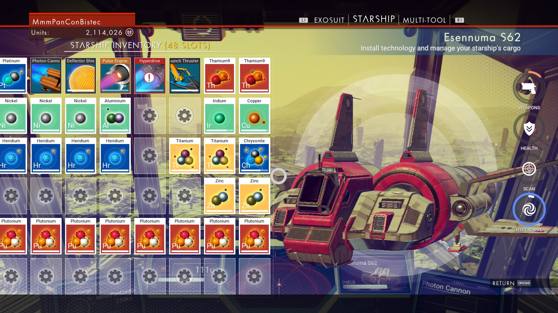 No Man's Sky player maxes out ship, exosuit, and crafts an Atlas Pass without leaving his starter planet