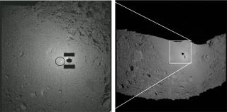 An image of a target marker dropped by Hayabusa to the surface of the asteroid with the spacecraft's shadow cast upon the space rock.
