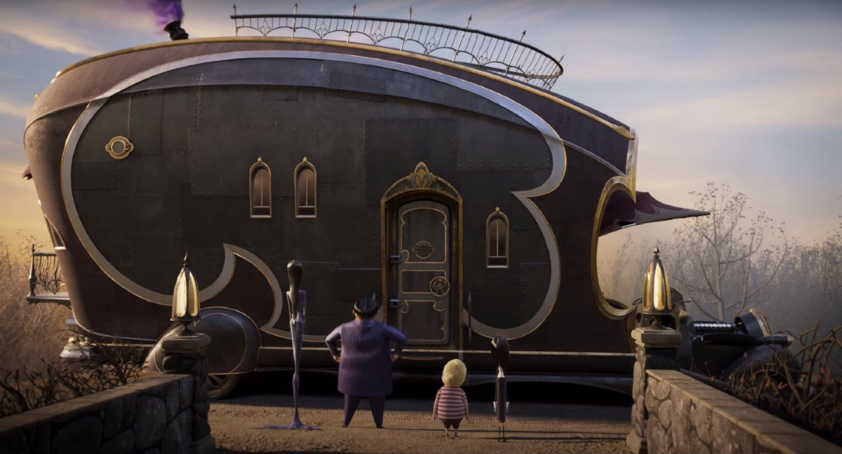 The Addams family looks at the Addams family camper in The Addams Family 2.