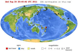 Earthquakes in the world in the past 7 days. Credit: USGS