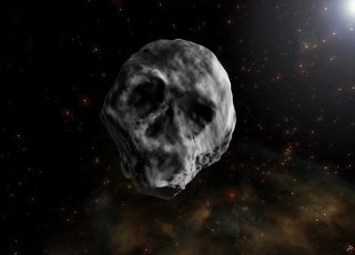 "The ""Halloween Asteroid"" 2015 TB145, shown here in an artist's illustration, is expected to whiz by Earth a little later than usual, swinging by on Nov. 11, 2018."