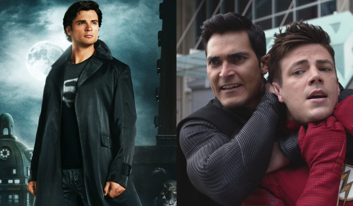 Tom Welling in Smallville, Tyler Hoechlin and Grant Gustin in Arrowverse