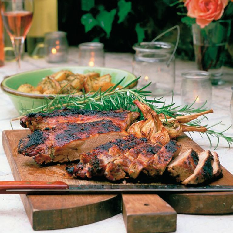 Butterflied Leg of Lamb, Roasted Potatoes with Garlic and Rosemary, and Three-Bean salad with Pancetta and Herbs-recipes-woman and home