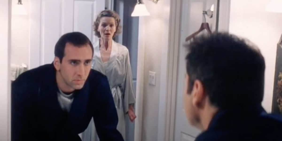 Nicolas Cage, Joan Allen, and John Travolta in an alternate ending from Face/Off