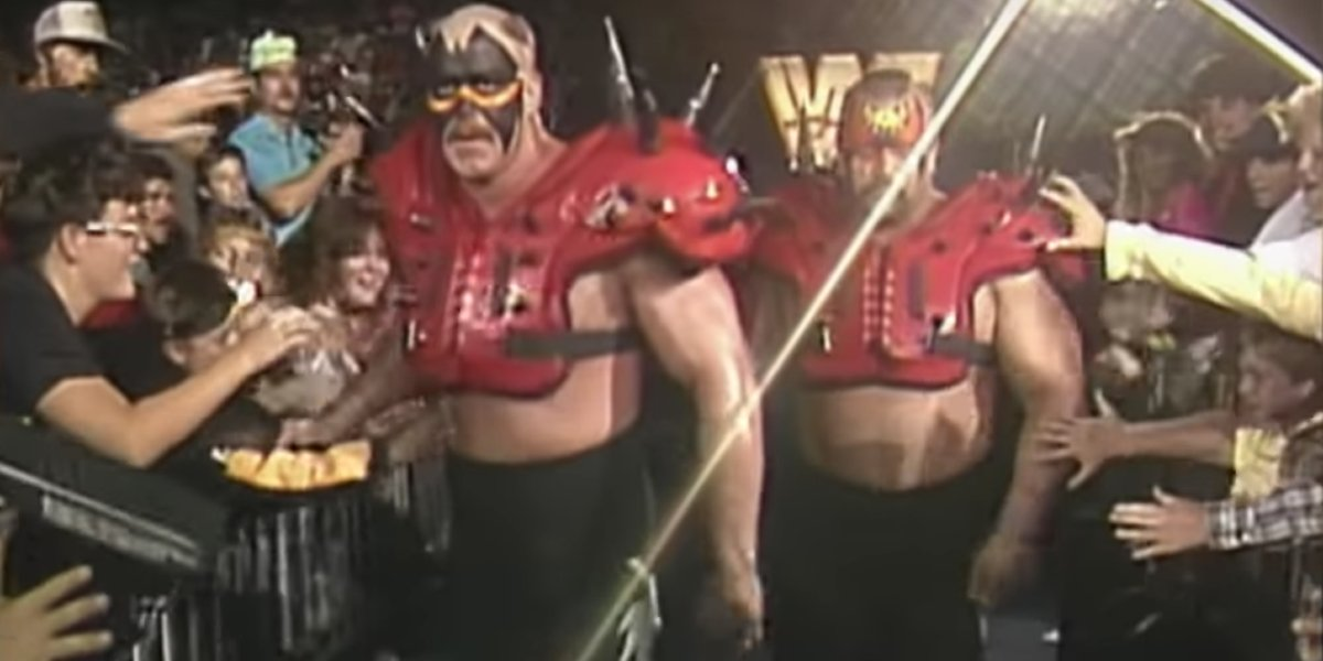The Legion Of Doom making an entrance