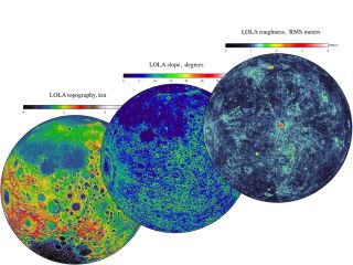 LOLA data from NASA's Lunar Reconnaissance Orbiter shows three complementary views of the near side of the moon: the topography (left) along with new maps of the surface slope values (middle) and the roughness of the topography (right). All three views ar