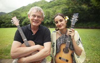 Martin Clunes: Islands of America. Pictured: Martin Clunes meets world famous Hawaiian ukulele virtuoso Taimane Gardner